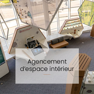 Bouton redirection vers agencement d'espace intérieur : showroom total
